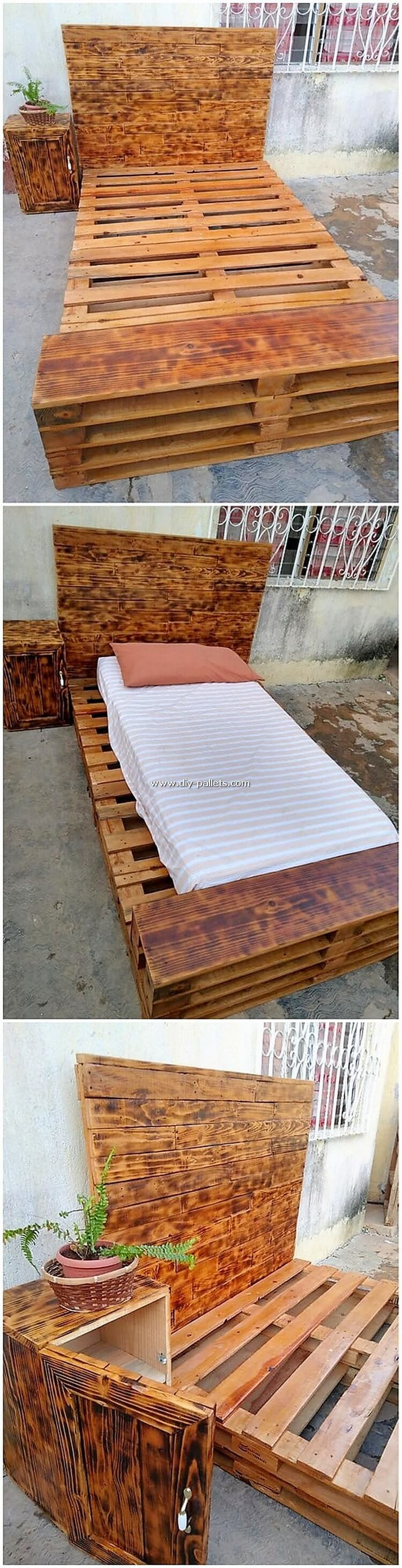 Pallet Bed with Side Table