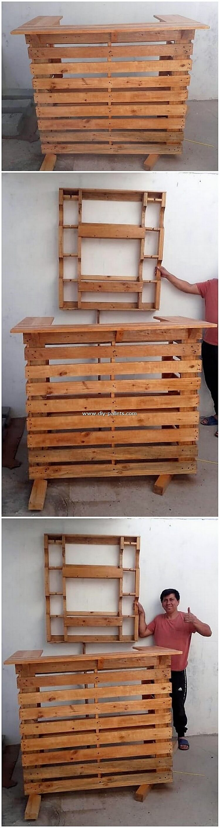 Pallet Counter Table and Wine Rack