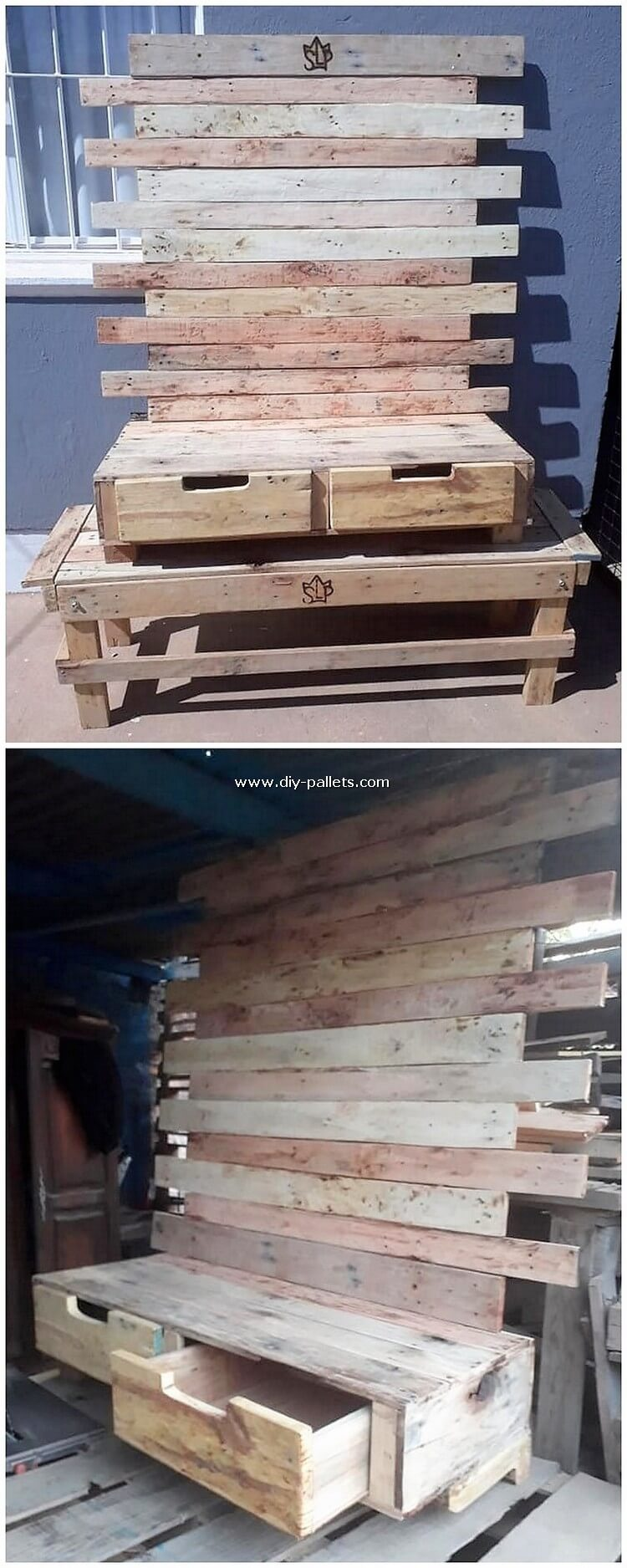 Pallet Wall LED Holder with Drawers