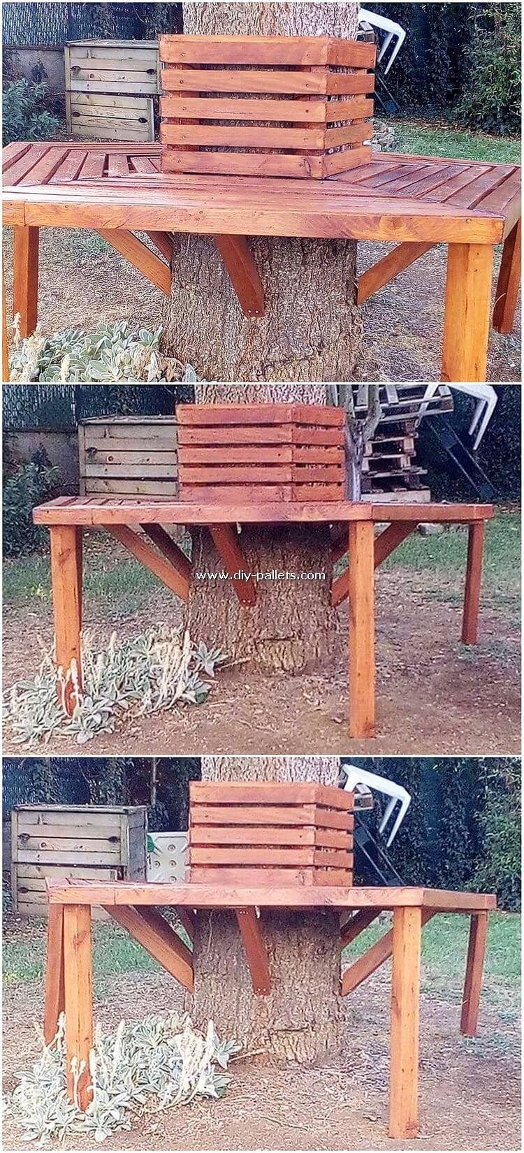 Pallet Bench Around Tree