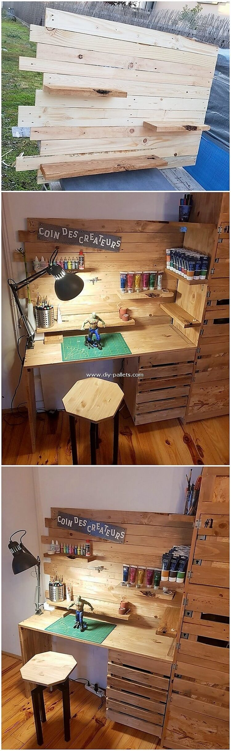 Pallet Wall Shelf and Desk